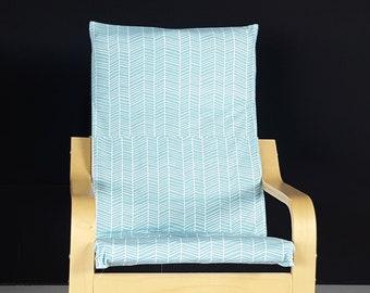 Blue Herringbone IKEA KIDS POÄNG Cushion Slipcover, Childs Nursery Room Ikea Poang Cover