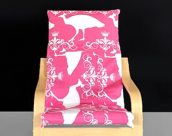 Patchwork Pink Peacock Ikea KIDS POÄNG Cushion Slipcover