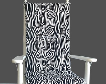 Black White Adjustable Reversible Woodgrain Rocking Chair Pad