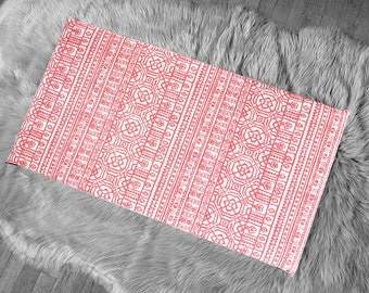 Coral Pink Tribal Pattern, IKEA STUVA Bench Pad Slip Cover
