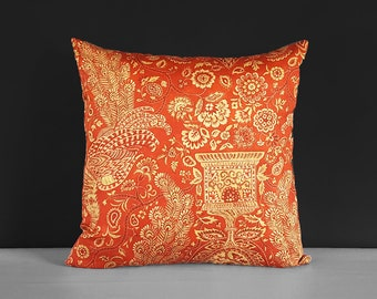 Traditional Red Peacock Damask Pillow Cover