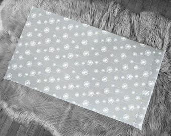 Dandelion Print IKEA Bench Seat Slip Cover, Gray Floral
