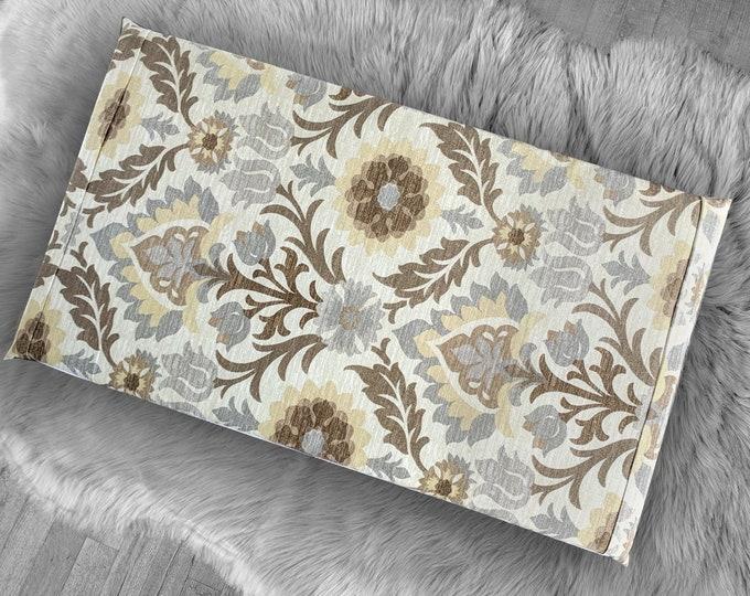 Brown Floral Vissla Bench Pad Cover, Damask IKEA Santa Maria Moonstone