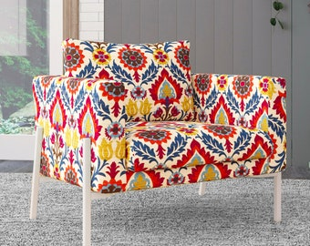 IKEA KOARP Armchair Covers, Jewel Tones Colorful Floral Chair Cover