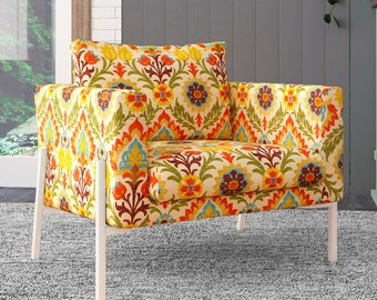 IKEA KOARP Armchair Covers, Vintage Orange Floral Chair Cover