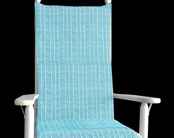 Turquoise Herringbone Rocking Chair Cushion