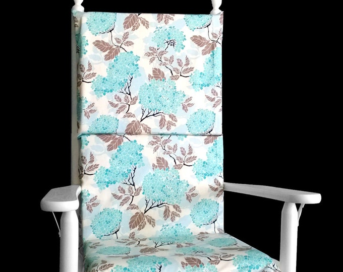 Blue Hydrangea Rocking Chair Cover, Adjustable Reversible Rocking Chair Cover