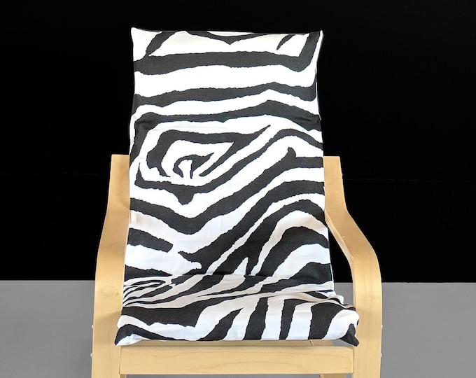 Zebra Black Animal Print Kids Poang Seat Cover