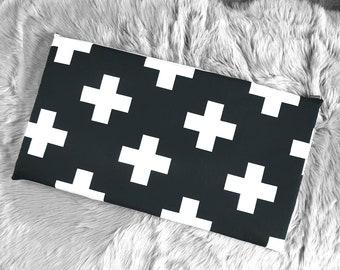 Hemmahos Bench Pad Slip Cover, Black Swiss Cross