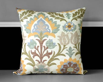 Brown Floral Pillow Cover, Pebble