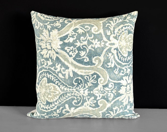 "Teal Green Blue Indigo Damask Pillow Cover, 18"" x 18"""
