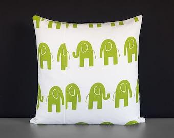 SAMPLE Green White Elephants Pillow Cover