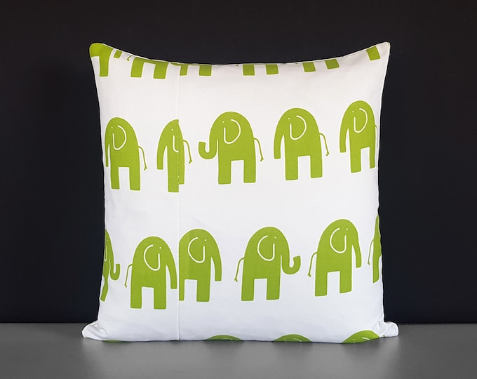 SAMPLE Green White Elephants Pillow Cover