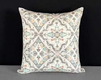 Jewel Tones, Gray Moroccan Print Pillow Cover