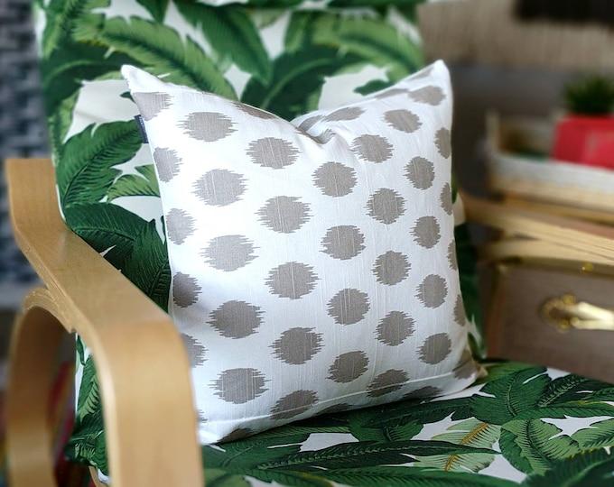 Gray Ikat Dots Pillow Cover