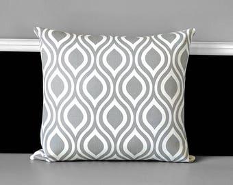 Gray Teardrop Pillow Cover