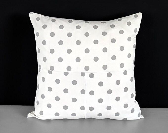Patchwork White Polka Dot Gray Throw Pillow Cover