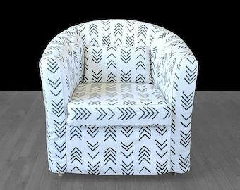 African Mud Cloth Print, Custom IKEA TULLSTA Chair Slip Cover, Flax Flame