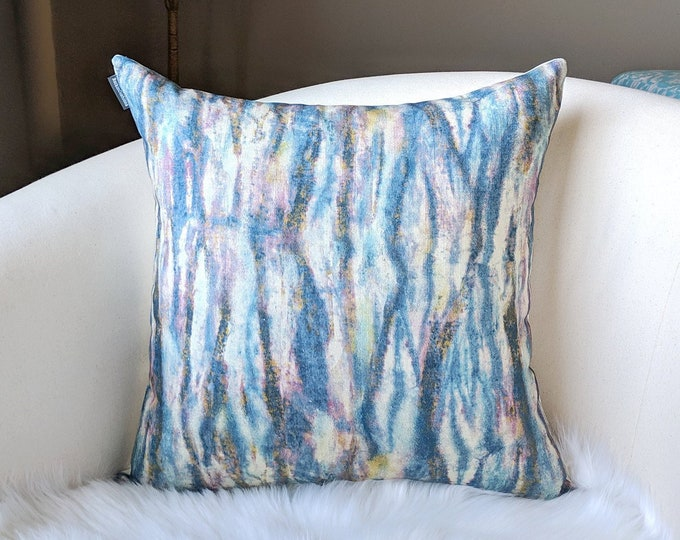 Indigo Blue Marble Watercolor Lines Pillow Cover
