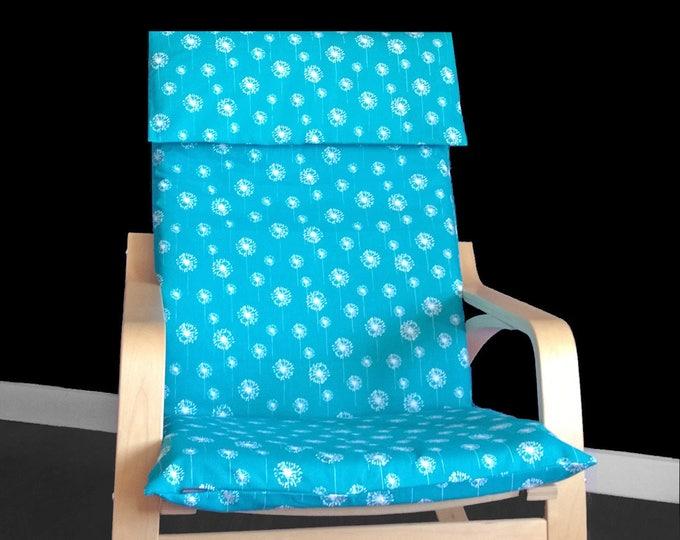 Turquoise Dandelion IKEA POÄNG Cushion Slip Cover