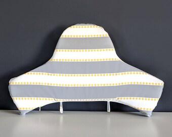 IKEA Highchair Cushion Cover for Klammig, Pyttig, Gray Stripe Yellow Dots