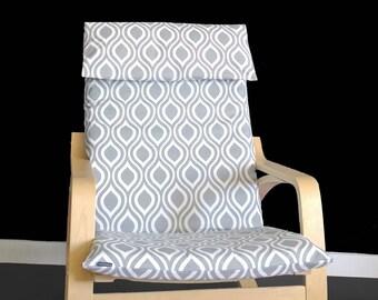 Tear Drop IKEA POÄNG Cushion Slipcover, Indian Ikea Custom Chair Cover - Nicole Grey