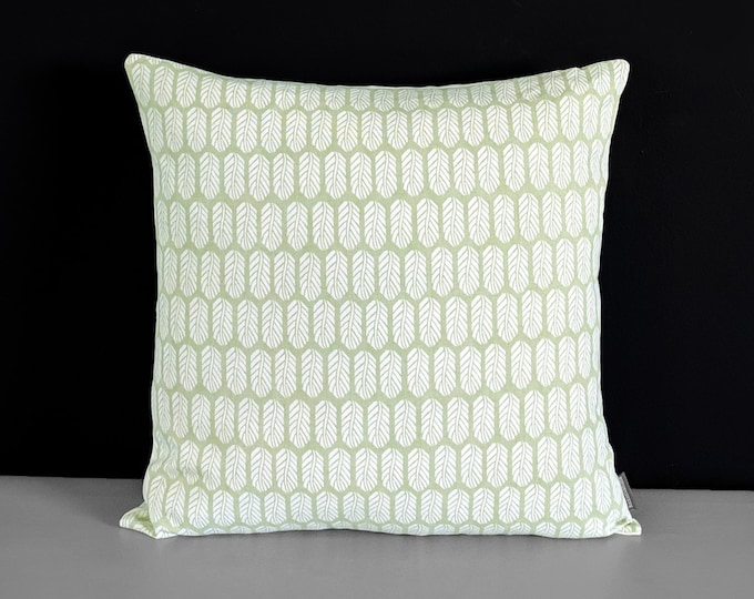 """Sage Green Small Feathers Pillow Cover 18"""" x 18"""""""