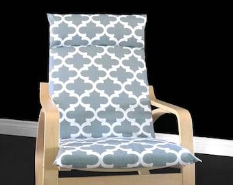 Grey Patterned IKEA POÄNG Chair Cover - Grey Fynn