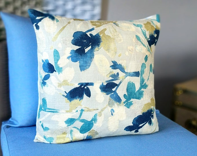 """Blue, Metallic Gold Floral Pillow Cover, 18"""" x 18"""""""