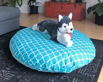 Dog Bed Cover for Large Dogs, IKEA Dihult Slipcover, Ikea Floor Pillow Covers, Ikea Dihult Covers, Modern Blue Circles
