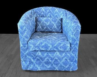 Shibori Indigo Blue, Diamond Pattern Custom IKEA TULLSTA Chair Slip Cover