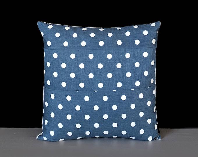 Navy Blue White Spotty Polka Dot Pillow Cover