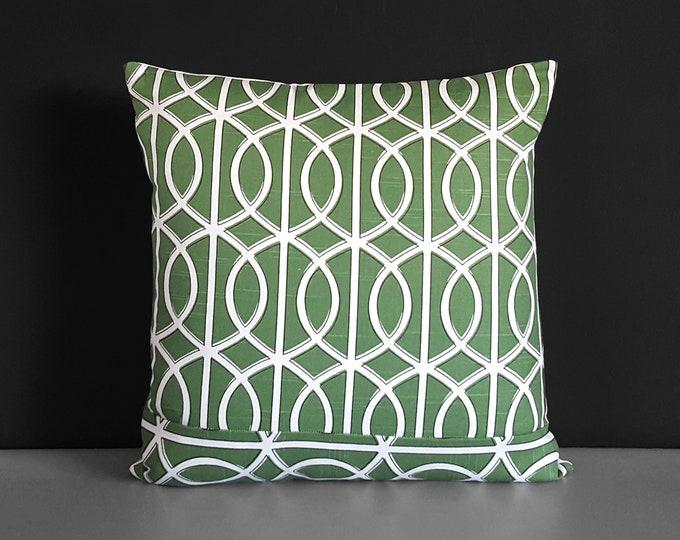 """Green Pillow Cover, Dwell Studio Bella Porte Watercress, 18"""""""