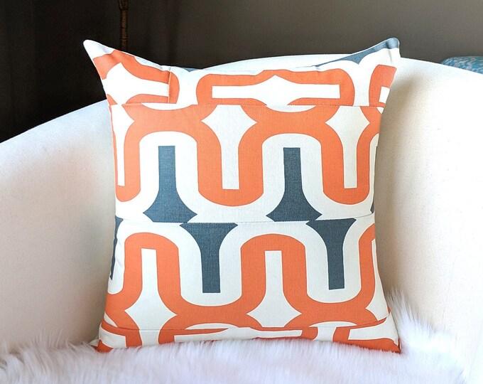 "Retro Patchwork Apache Orange 18"" x 18"" Pillow Cover"