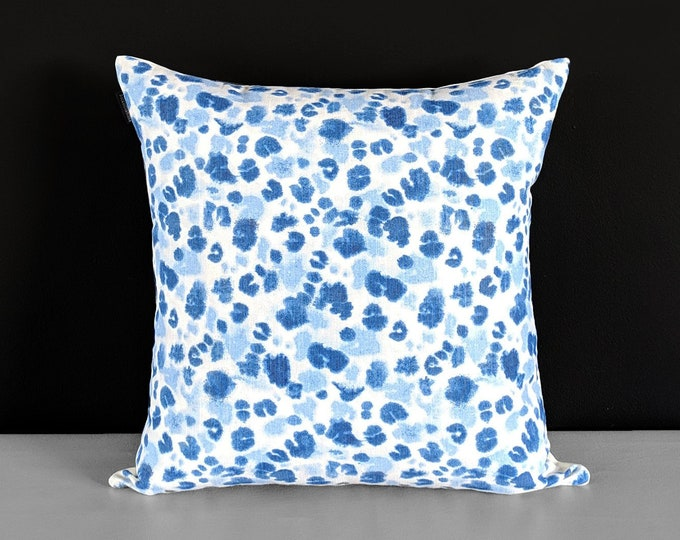 Blue Animal Paw Print Pillow Cover