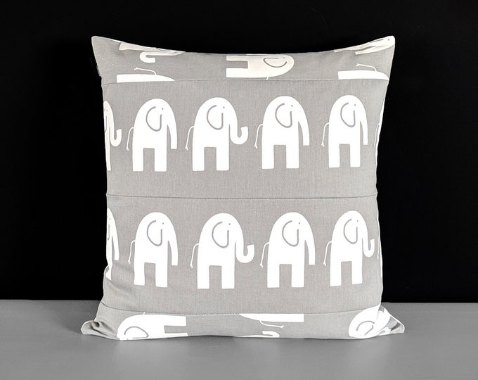 Patchwork Gray Elephant Cushion Cover