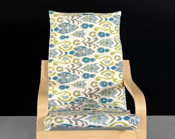 Ikat Floral Blue Green IKEA KIDS POÄNG Cushion Slipcover