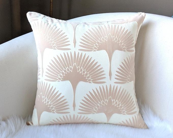 Blush Pink Velvet Fan Pillow Cover