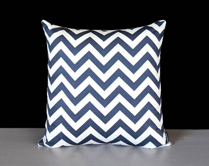 Zig Zag Chevron Print, Navy Blue Pillow Cover
