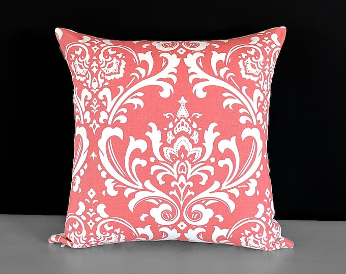 """Coral Pink Damask Floral Pillow Cover, 18"""" x 18"""""""