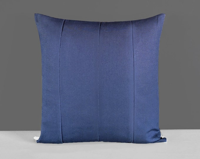 Patchwork Solid Navy Blue Pillow Cover