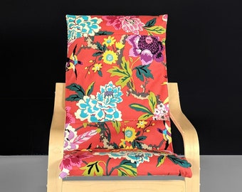 Patchwork Red Floral IKEA Childrens POÄNG Cushion Slipcover