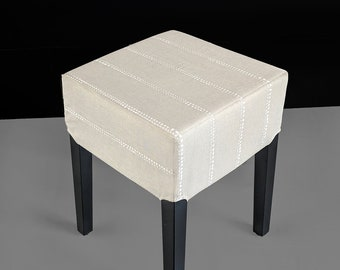 Stool Cover for IKEA Nils, Beige Gray Line Dot Print
