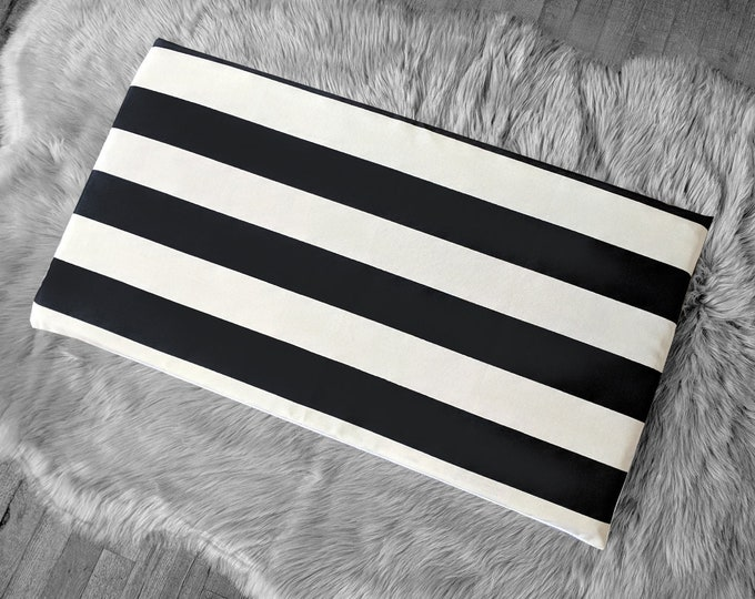 IKEA STUVA Bench Pad Slip Cover, Outdoor Black Beige Cabana Stripe