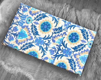 Patchwork Floral Bench Pad Cover, Blue Damask IKEA Santa Maria