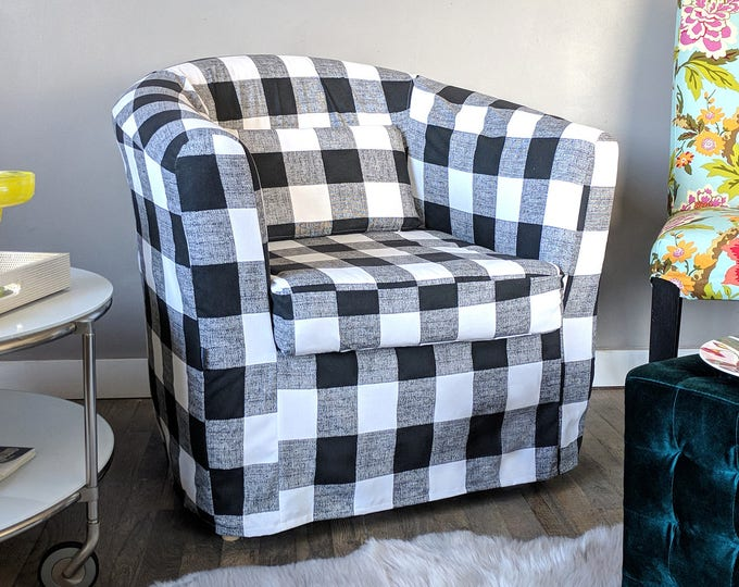 Black Plaid Buffalo Check Custom IKEA TULLSTA Chair Slip Cover