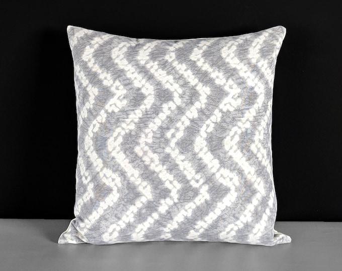 Gray Shibori Tie-Dye Print Chevron Pillow Cover