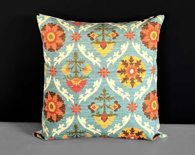 Mexican Blue Throw Pillow Cover