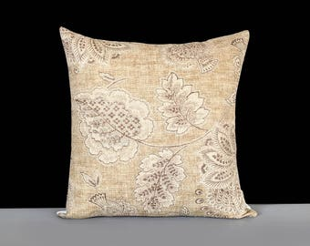 Beige Floral Pillow Cover