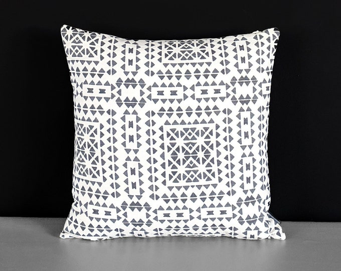 Dark Gray Patterned Gray Cushion Cover, Santiago Latin Print